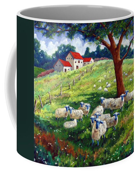 Sheep Coffee Mug featuring the painting Sheeps In A Field by Richard T Pranke