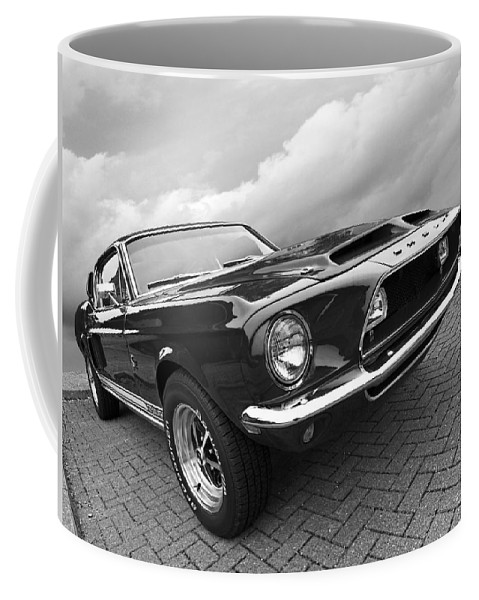 Shelby Mustang Coffee Mug featuring the photograph Shelby Gt500kr 1968 In Black And White by Gill Billington