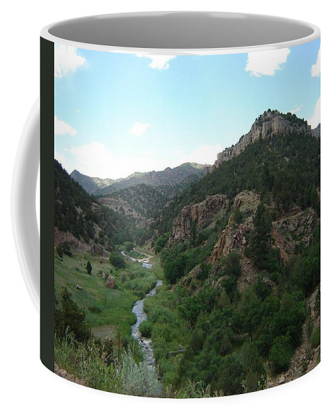Shelf Road Coffee Mug featuring the photograph Shelf Road Vista by Anita Burgermeister