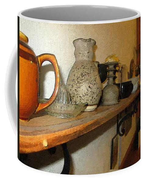 Bibelots Coffee Mug featuring the digital art Shelf With Things Treasured by RC DeWinter