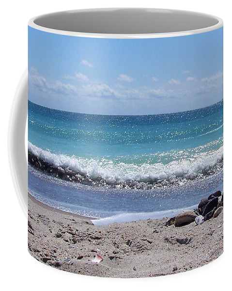 Beach Coffee Mug featuring the photograph Shells On The Beach by Sandi OReilly