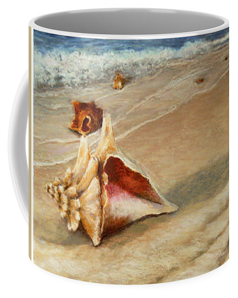 Landscape Coffee Mug featuring the painting Shells On The Shore by Susan Jenkins
