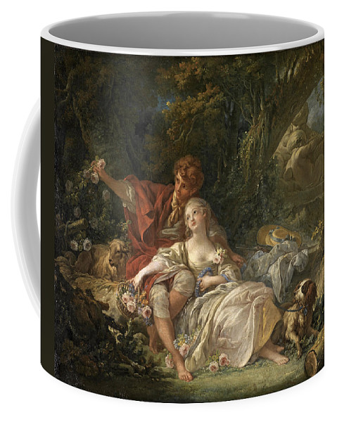 Francois Boucher Coffee Mug featuring the painting Shepherd And Shepherdess by Francois Boucher