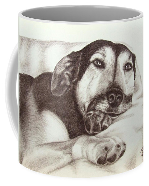 Dog Coffee Mug featuring the drawing Shepherd Dog Frieda by Nicole Zeug