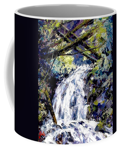 Landscape Coffee Mug featuring the painting Shepherds Dell Falls Coumbia Gorge OR by Jim Gola