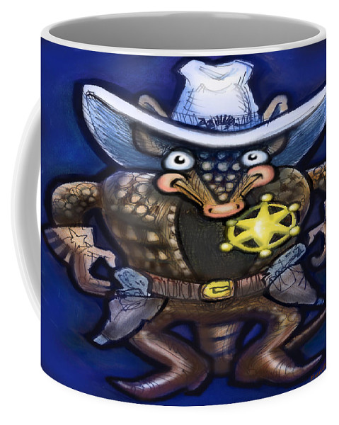 Sheriff Coffee Mug featuring the digital art Sheriff Dillo by Kevin Middleton