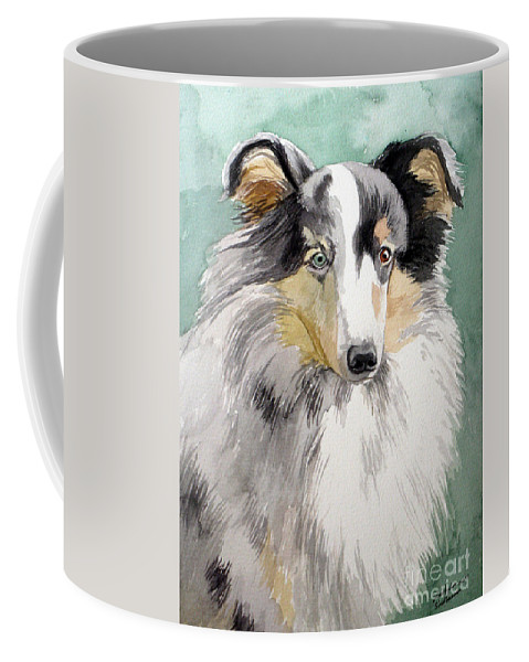 Dog Coffee Mug featuring the painting Shetland Sheep Dog by Christopher Shellhammer