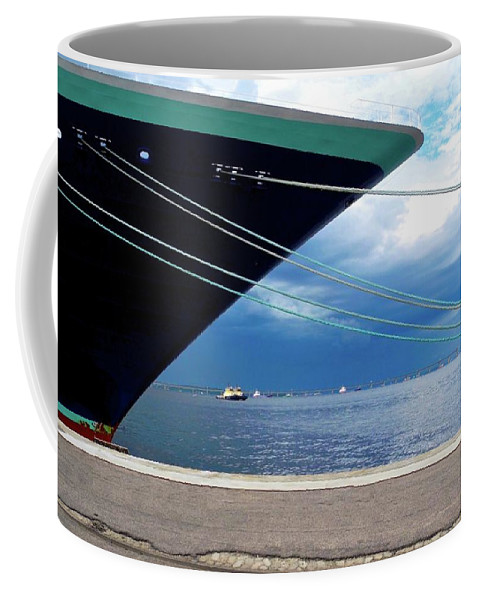 Ship At Anchor Coffee Mug featuring the photograph Ship At Anchor In Rio by Kirsten Giving
