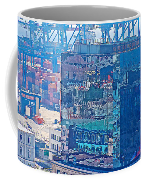 Shipping Containers And Building Windows Reflecting Graffiti Art Of Valparaiso Coffee Mug featuring the photograph Shipping Containers And Building Windows Reflecting Graffiti Art Of Valparaiso-chile by Ruth Hager
