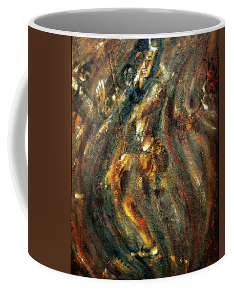 Shiv Coffee Mug featuring the painting Shiva Eternal Dance - Vintage by Harsh Malik