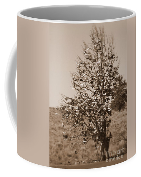 Sepia Coffee Mug featuring the photograph Shoe Tree In Sepia by Carol Groenen