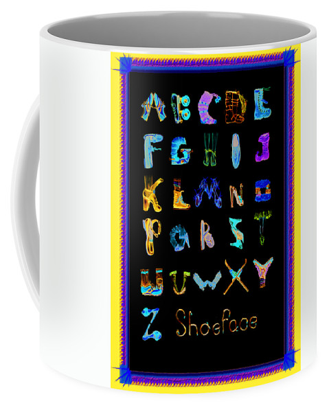 Alphabet Coffee Mug featuring the drawing Shoeface by Shelley Myers