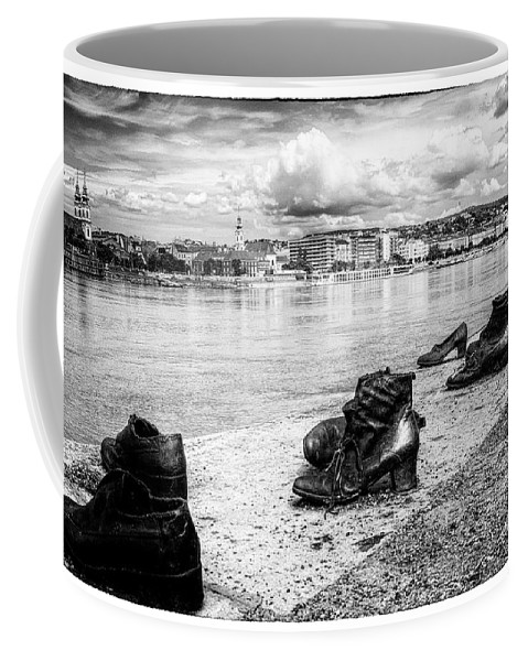 Arrow Cross Coffee Mug featuring the photograph Shoes On The Danube Memorial by Doug Matthews
