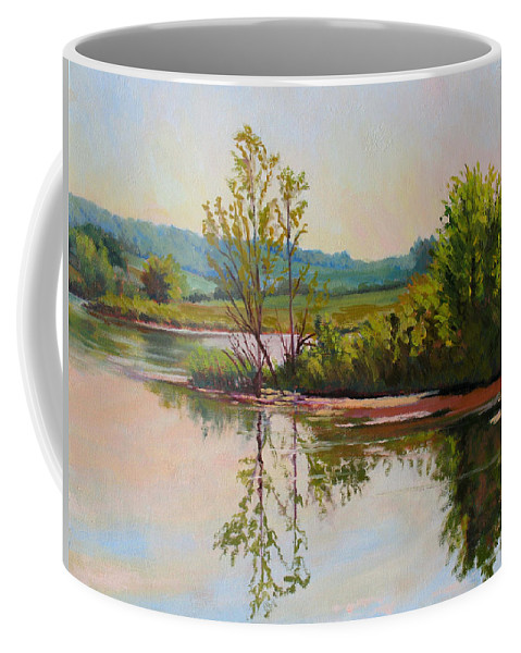 Impressionism Coffee Mug featuring the painting Shoreline At Evening by Keith Burgess