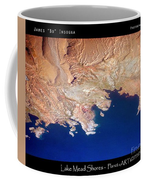 Abstract Coffee Mug featuring the photograph Shores Of Lake Mead Planet Art by James BO Insogna