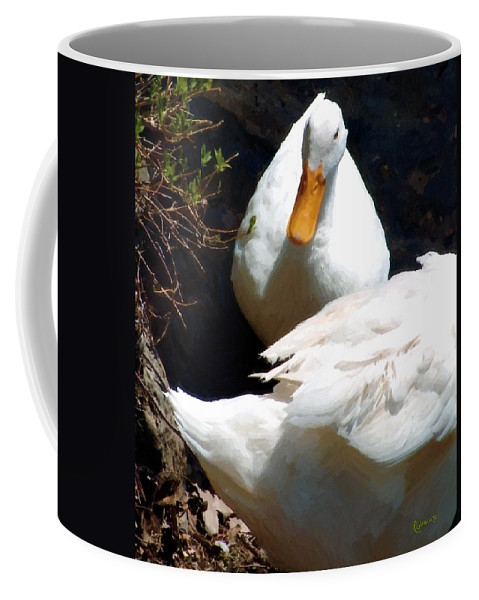 Duck Coffee Mug featuring the painting Should I by RC DeWinter