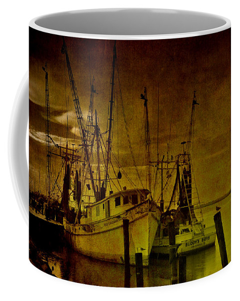 Shrimp Boat Coffee Mug featuring the photograph Shrimpboats In Apalachicola by Susanne Van Hulst
