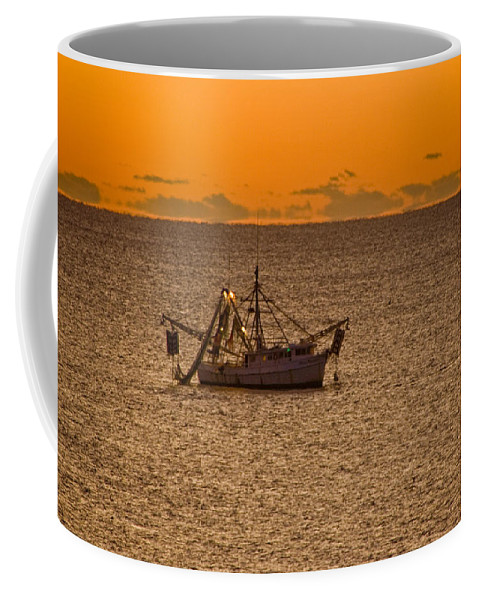 Sunrise Coffee Mug featuring the photograph Shrimping In The Morning by Ches Black