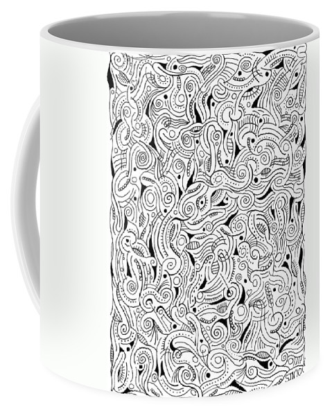 Abstract Coffee Mug featuring the drawing shRMgaaragiita by Steven Natanson