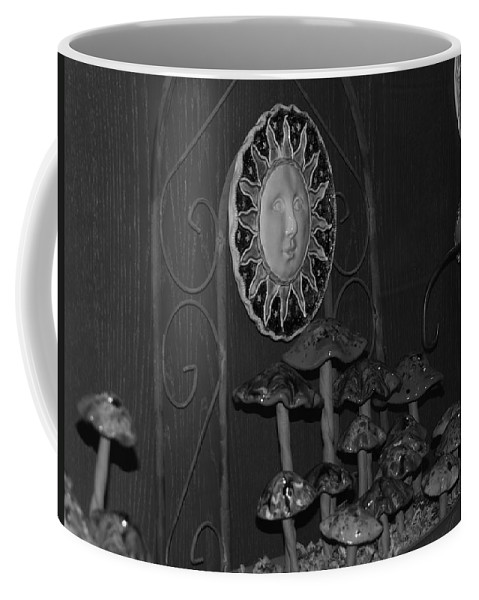 Black And White Coffee Mug featuring the photograph Shrooms And Sun by Rob Hans