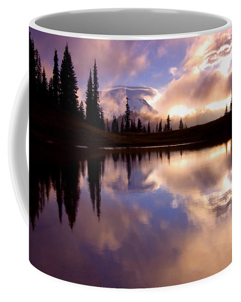 Rainier Coffee Mug featuring the photograph Shrouded In Clouds by Mike Dawson