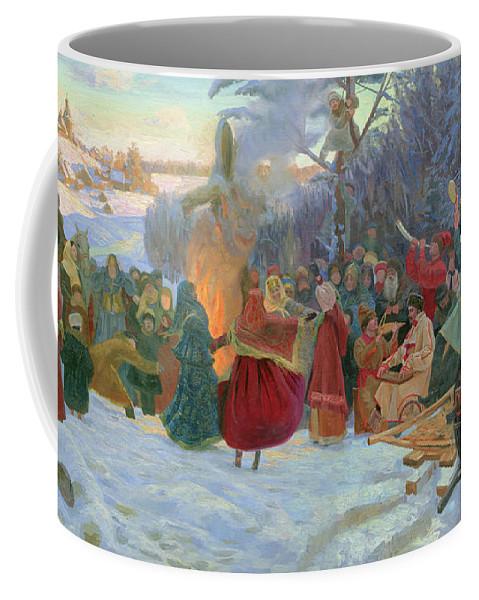 Winter Coffee Mug featuring the painting Shrovetide. Farewell To Winter. Xvii Century by Simon Kozhin