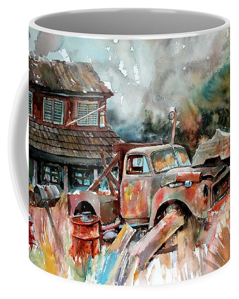 Truck Coffee Mug featuring the painting Shuttered And Cluttered And Gone by Ron Morrison