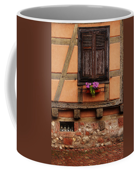 Shutters Coffee Mug featuring the photograph Shutters And Window Box In Kaysersberg by Greg Matchick