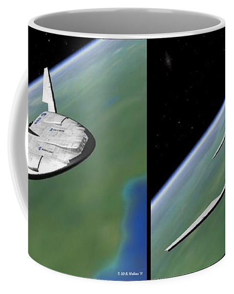 3d Coffee Mug featuring the photograph Shuttle X-2010 - Gently Cross Your Eyes And Focus On The Middle Image by Brian Wallace