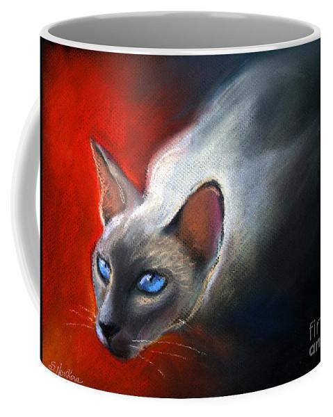 Siamese Cat Portrait Coffee Mug featuring the painting Siamese Cat 7 Painting by Svetlana Novikova
