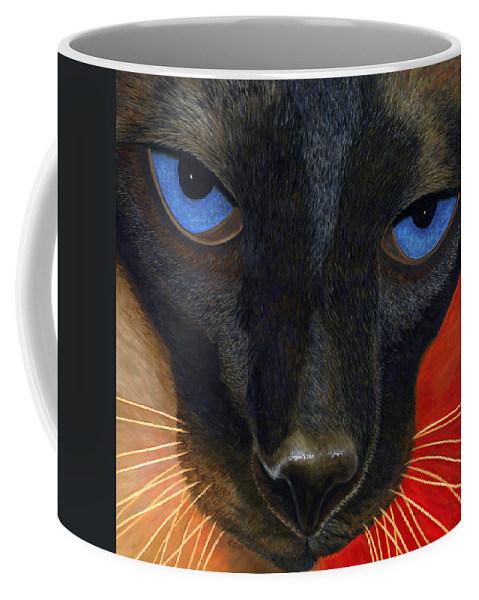 Karen Zuk Rosenblatt Coffee Mug featuring the painting Siamese by Karen Zuk Rosenblatt