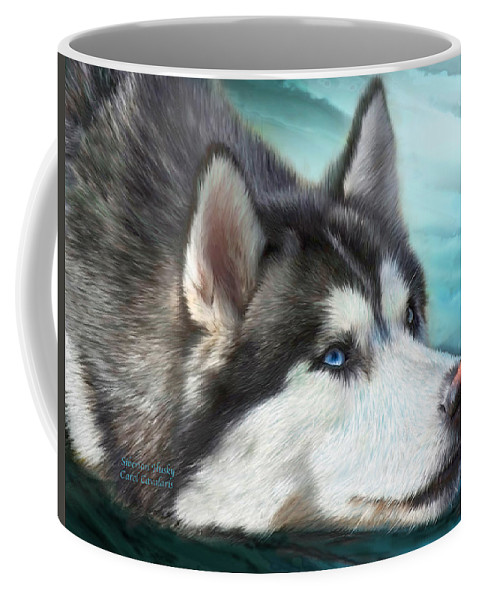 Siberian Husky Coffee Mug featuring the mixed media Siberian Husky by Carol Cavalaris