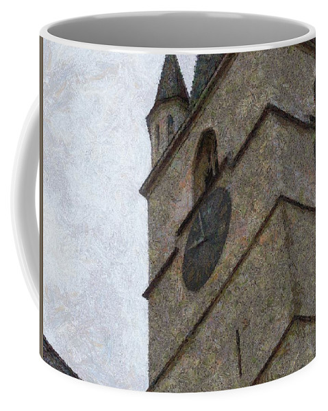 Sibiu Coffee Mug featuring the painting Sibiu Clock Tower by Jeffrey Kolker
