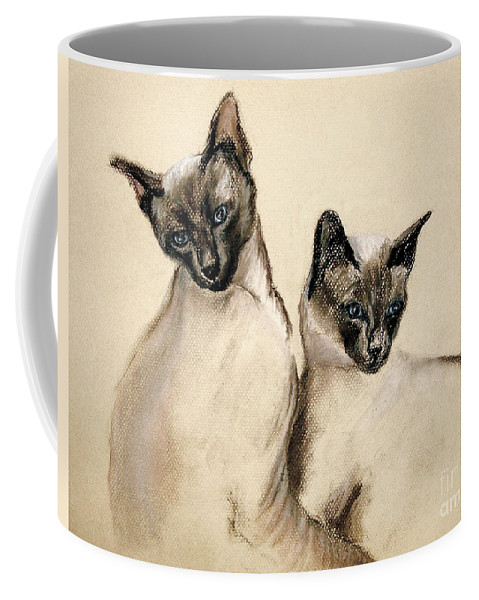 Cat Coffee Mug featuring the drawing Sibling Love by Cori Solomon