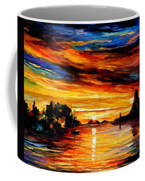 Afremov Coffee Mug featuring the painting Sicily - Catania by Leonid Afremov