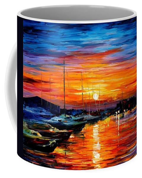 Afremov Coffee Mug featuring the painting Sicily - Harbor Of Syracuse by Leonid Afremov
