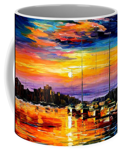 Afremov Coffee Mug featuring the painting Sicily - Messina by Leonid Afremov
