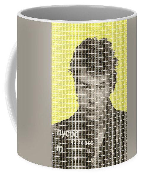 Sid Vicious Coffee Mug featuring the painting Sid Vicious Mug Shot - Yellow by Gary Hogben