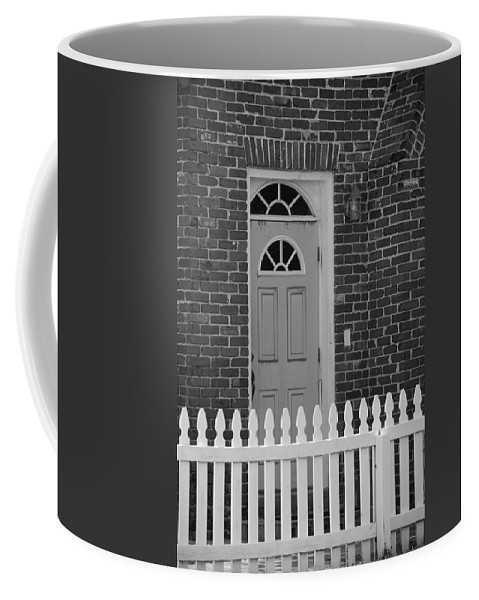 Black And White Coffee Mug featuring the photograph Side Door by Rob Hans