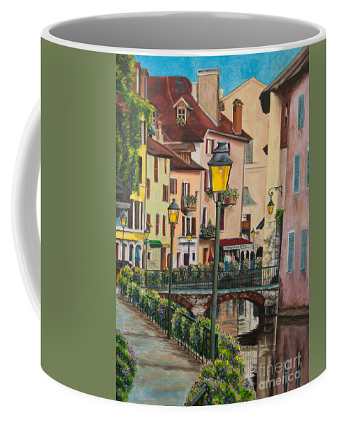 Annecy France Art Coffee Mug featuring the painting Side Streets In Annecy by Charlotte Blanchard