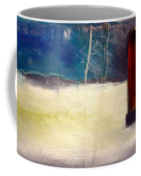 Abstract Landscape Coffee Mug featuring the painting Siennna Square by Jane Clatworthy