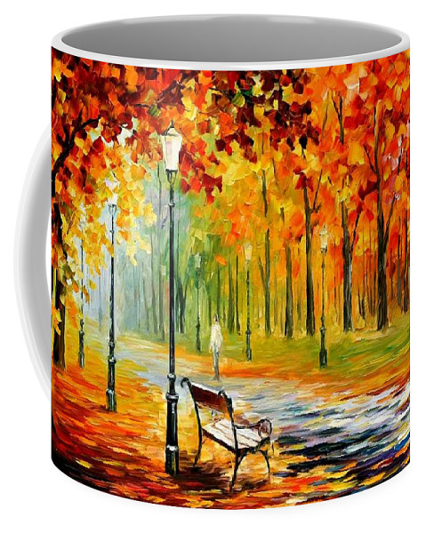 Afremov Coffee Mug featuring the painting Silence Of The Fall by Leonid Afremov