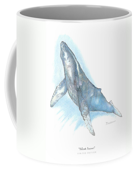 Whale Beneath Surface Coffee Mug featuring the drawing Silent Ascent by David Weaver