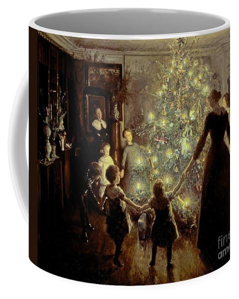 Xmas Coffee Mug featuring the painting Silent Night by Viggo Johansen