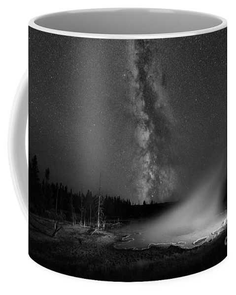 Silex Spring Coffee Mug featuring the photograph Silex Spring Milky Way Bw by Michael Ver Sprill