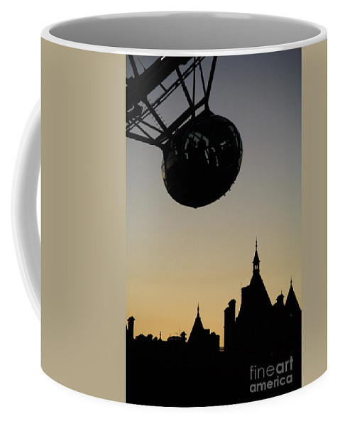Architecture Coffee Mug featuring the photograph Silhouetted London Eye Capsule by Deborah Benbrook