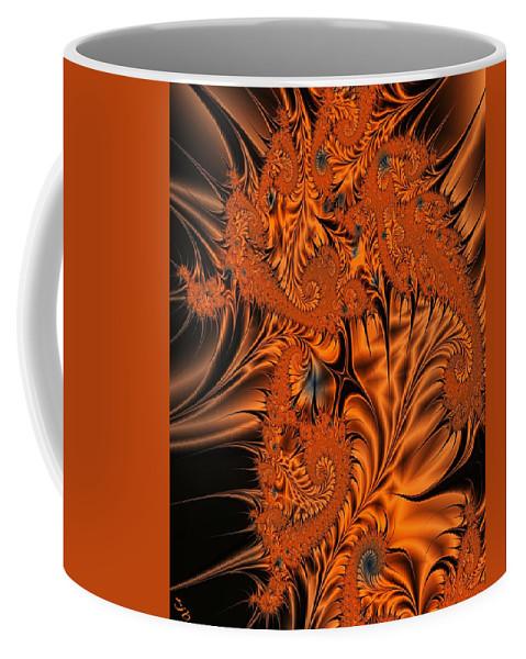Silk Coffee Mug featuring the digital art Silk in Orange by Ron Bissett
