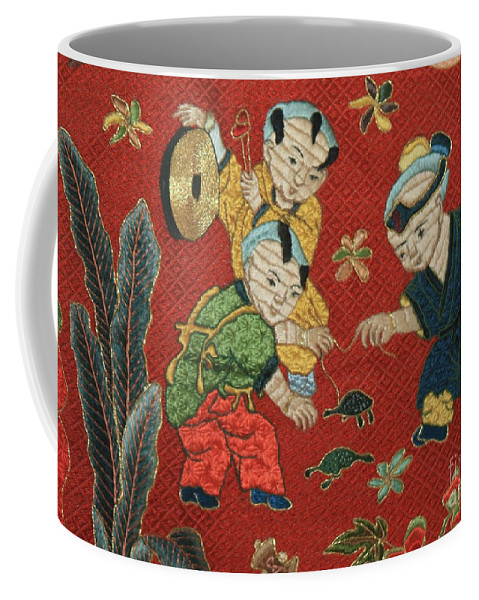 Children Playing Coffee Mug featuring the photograph Silk Robe - Children Playing With Turtle by Carol Groenen