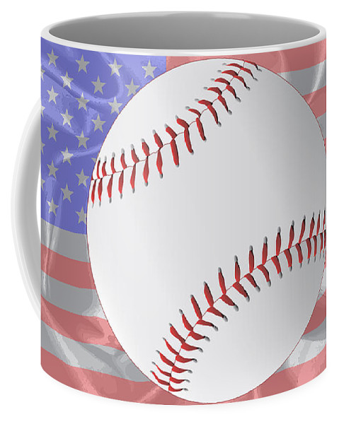 Stars And Stripes Coffee Mug featuring the digital art Silk Stars And Stripes Baseball by Bigalbaloo Stock