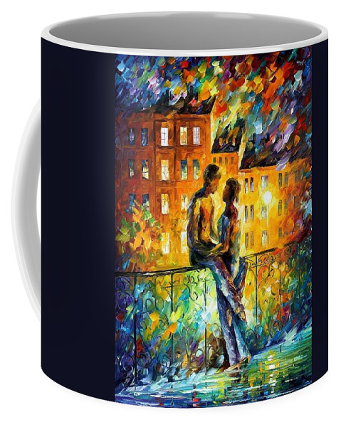 Afremov Coffee Mug featuring the painting Sillhouettes by Leonid Afremov